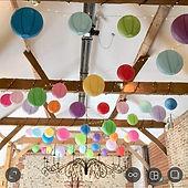 Colourful paper lanterns at Upwatham Barn wddn venue
