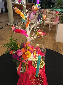 Netting table runner at a tropical wedding