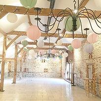 Pastel paper lantens at Upwatham Barns wedding venue