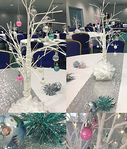 White tree centrepieces and silver runners Butlins Bognor
