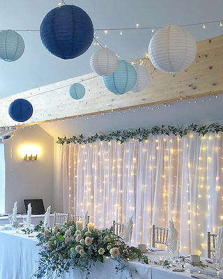 Fairy light curtain and organza draping