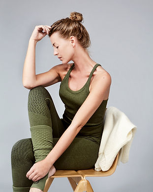 Y back top and tights army with mohair s