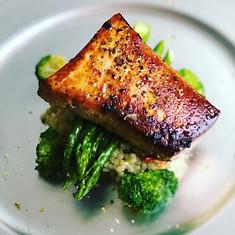 Pan Seared Scottish Salmon with Seasonal Vegetables