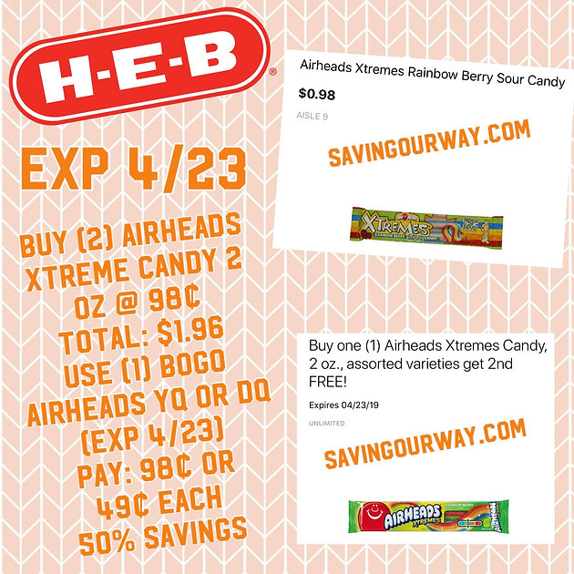 😋SWEET 50% off Airheads Xtreme @ HEB‼️Great for Easter