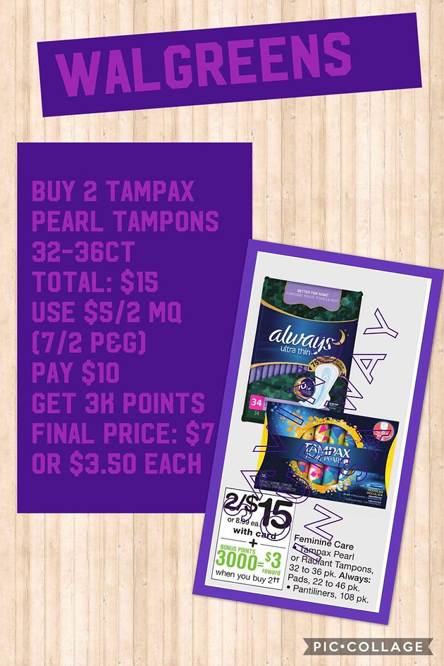 Tampax Pearl Tampons 32-36 ct only $3 50 each box