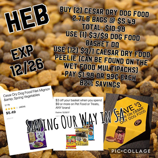 photo about Caesars Dog Food Printable Coupons identify Offer upon Cesar dry Canine food stuff. Pay out $1.98 for 2 baggage at HEB