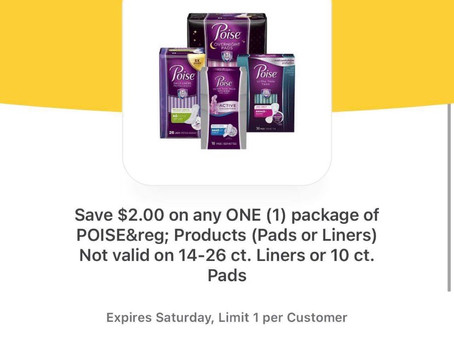 $1.84 Poise Ultra Thin Active Pads (Reg. Priced almost $5) using ibotta!
