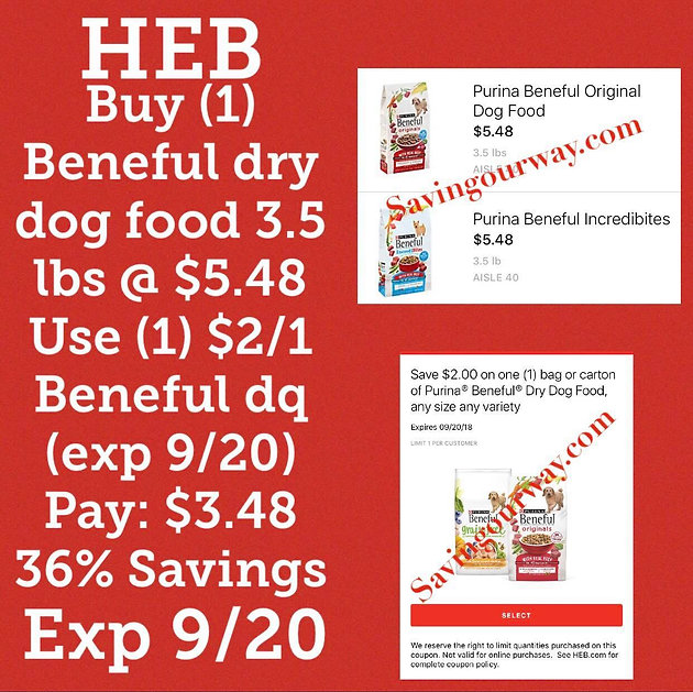 graphic regarding Heb Printable Coupons referred to as Purina Beneful Pet dog food items just $3.48 @ HEB! (Expires 9/20