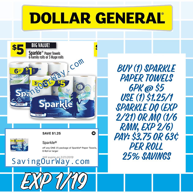 Super Easy Sparkle paper towels deal @ DG❗️Save 25% to pay