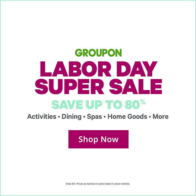 photograph regarding Home Goods Coupon Printable known as Groupon Labor Working day Tremendous Sale: Help save up in direction of 80% Off: Routines