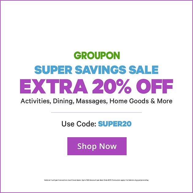 photograph about Home Goods Coupon Printable identified as Groupon Tremendous Financial savings Sale: Further 20% Off Functions, Eating