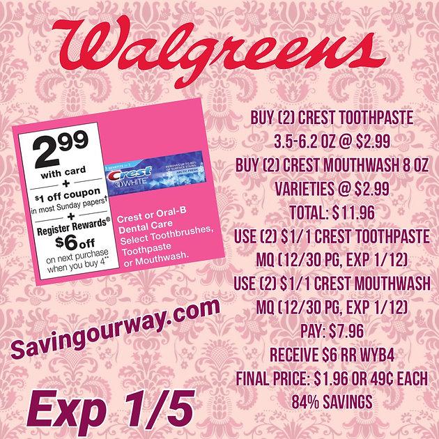 🏃🏼 ♀️😮49¢ Crest Toothpaste & Mouthwash @ Walgreens