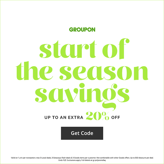 Groupon Sitewide Sale: Start of the Season Savings: 20% Off