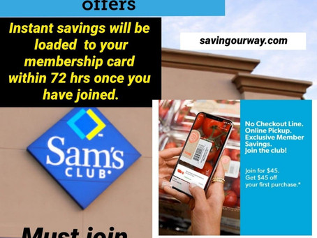 Pay $45 for a Sam's card today & Get $45 in Instant Savings! Like grabbing your card totally FREE!