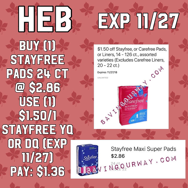 An all time Favorite! StayFree Pads only $1 36 at H*E*B 🏃