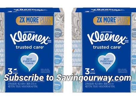 kleenex buy one get one 50% at Walgreens this week! subscribe to savingourway.com to see more deals!