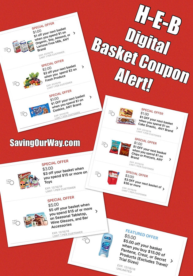 image relating to Heb Printable Coupons called Fresh Electronic Basket Discount coupons upon Your H-E-B application! Couponing