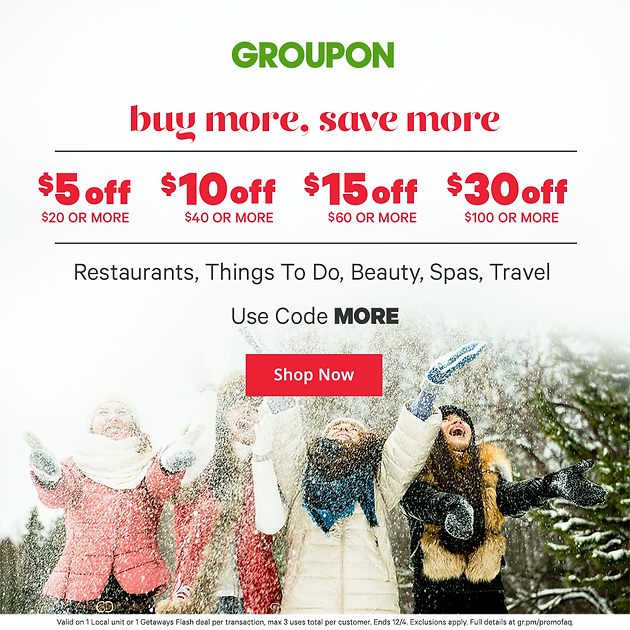 Groupon Offer: Buy More, Save More: $5 Off $20 or More, $10 Off $40