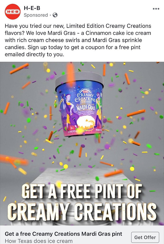 photograph regarding Heb Printable Coupons named Seeking for that Totally free Pint of Creamy Creations Mari Gras Ice