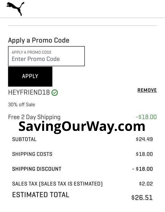 Huge Savings on Puma with Sale price and additional 30% off Promo