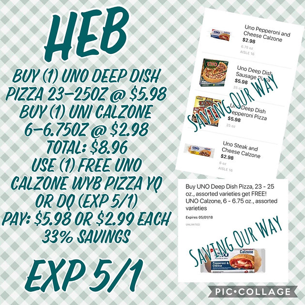 photograph relating to Unos Coupons Printable identified as Uno Deep Dish Pizza and Calzone only $2.99 just about every @ HEB! (exp