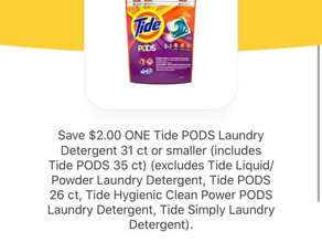 🔥Stock up on Tide pods this week at HEB!! Fantastic high value coupon making a Deal!