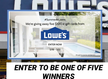 This will take a Quick Minute! Lowe's Giving out a whopping (5)- $100 e- gift Cards!