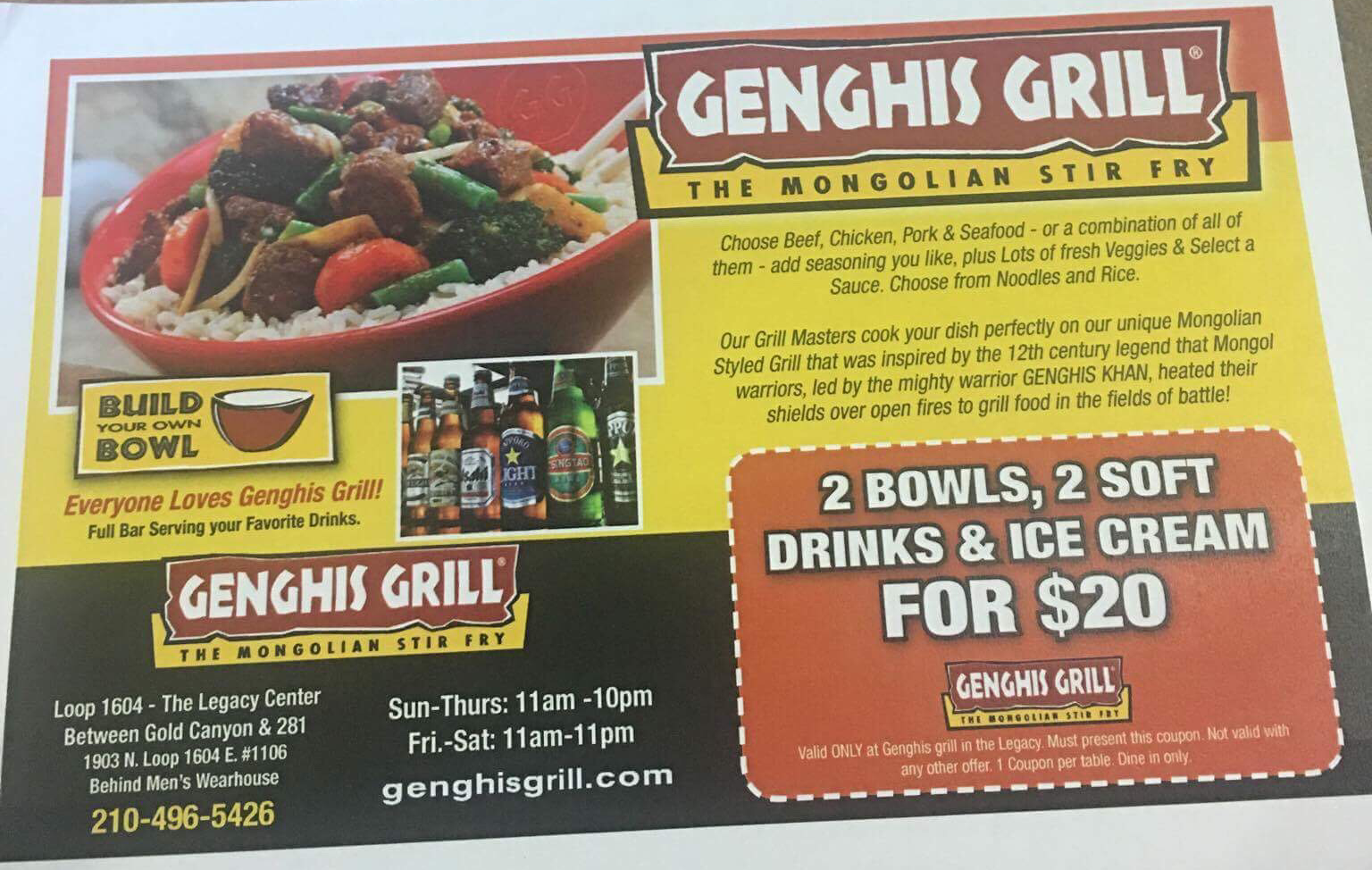 picture regarding Genghis Grill Printable Coupon named Tax Totally free Weekend distinctive @ Genghis Grill! Couponing Weblogs