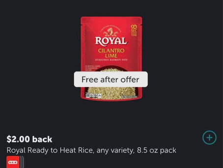"""Free Royal Chicken & Herb Rice at HEB using Ibotta! At sign up use my code """" uscldqn"""""""