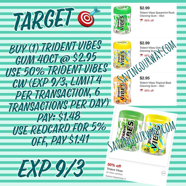 image regarding Trident Coupons Printable identify Concentration contains 50% Discounts upon Trident Vibes Gum 40 ct! (Exp 9/3