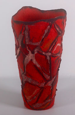 Red Felt Vase by Denise Lithgow