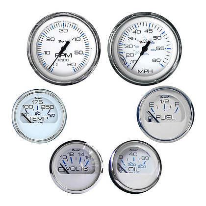 Faria Chesapeake SS White Inboard 6 Gauge Boxed Set with Mechanical Speedo