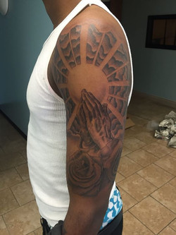 Got another session in on this half sleeve.jpg One more sitting and it'll be all finished up