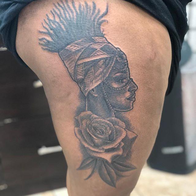 Custom African Queen thigh piece in  pro