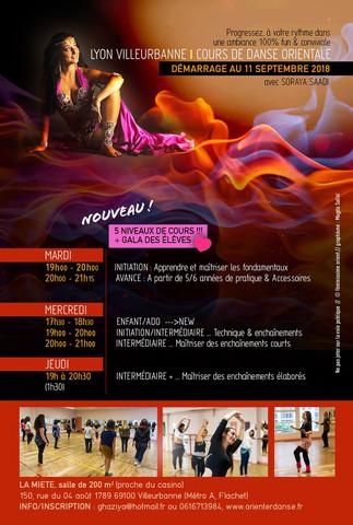1er Cours d'essai à 5€ 2018-2019 - Cours de Danse Orientale avec Soraya Saadi Lyon Villeurbanne
