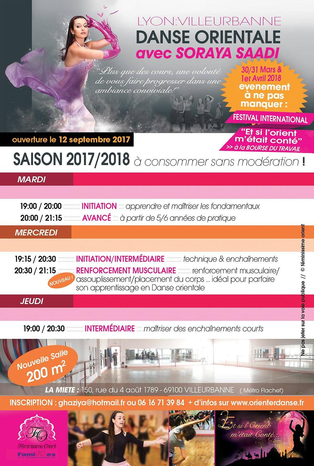 planning des cours de danse orientale 2017 2018