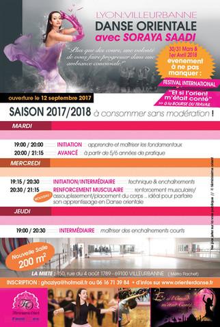Saison 2017/2018 Planning des Cours de danse orientale (inscription en cours au 0616713984)