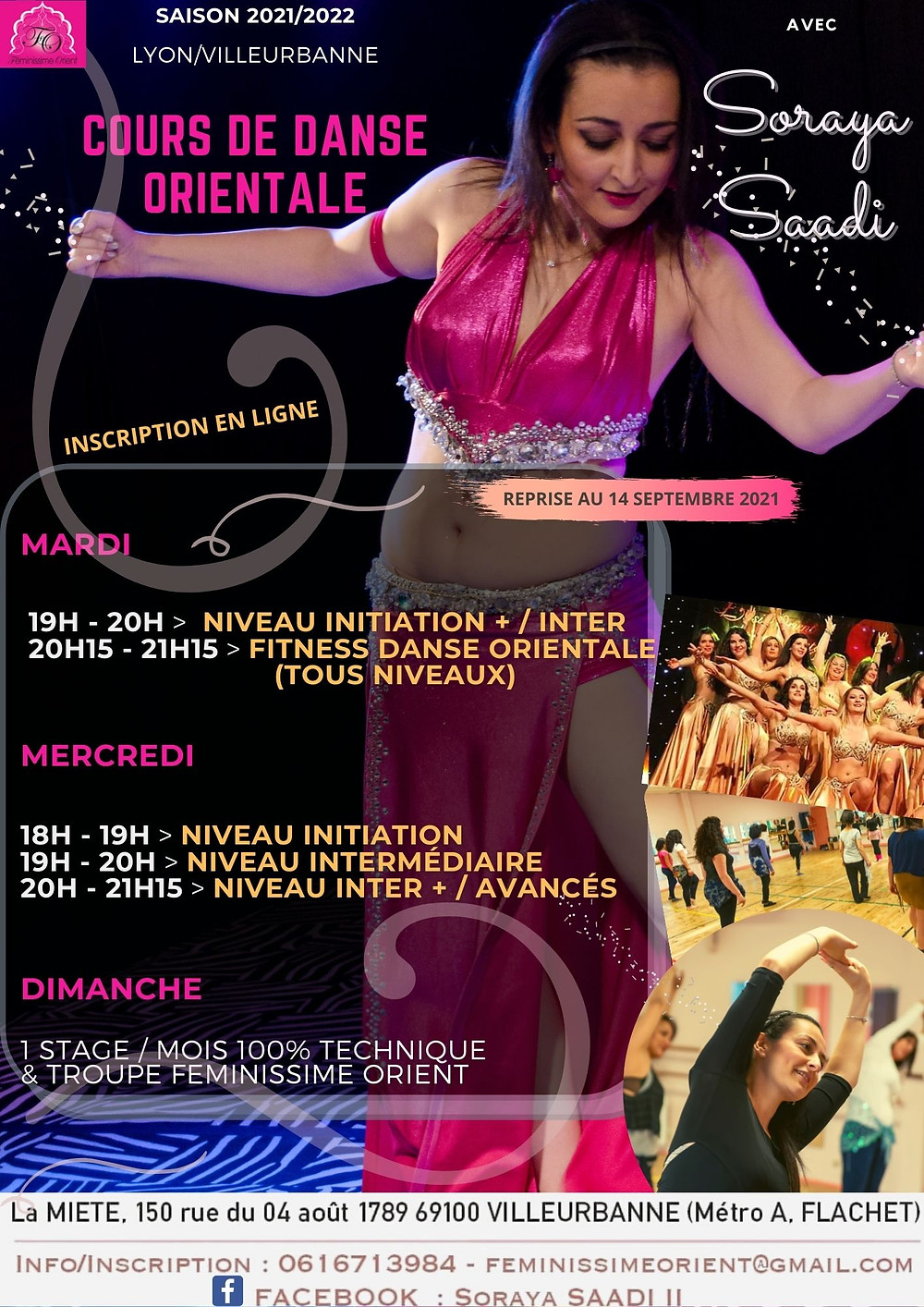 planning des cours de danse orientale 2020 2021