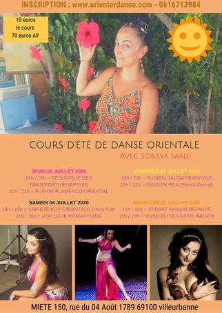 C'est parti ! Cours d'été JUILLET 2020 de DANSE ORIENTALE avec Soraya SAADI (Tous niveaux)