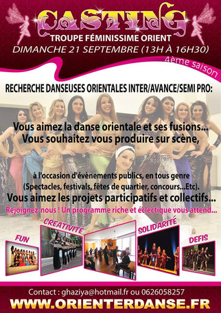 Recherche Danseuses Orientales de Niveau Inter/Avancés/Semi-pro