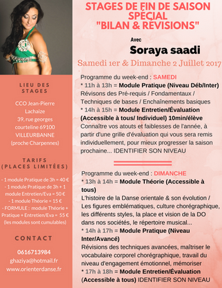 Week-end Stages de Fin de saison / Spécial Bilans & Révisions de Danse Orientale Lyon / 1er &amp