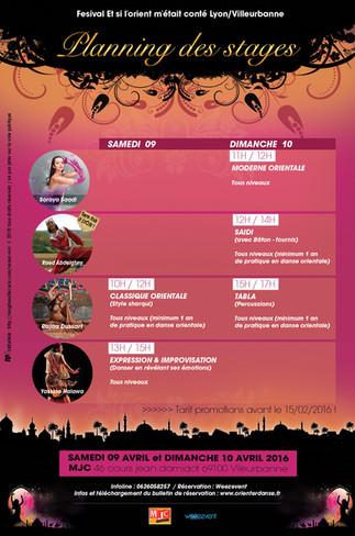"""Les Stages du Festival """"Et si l'orient m'était conté"""" 9/10 Avril 2016"""