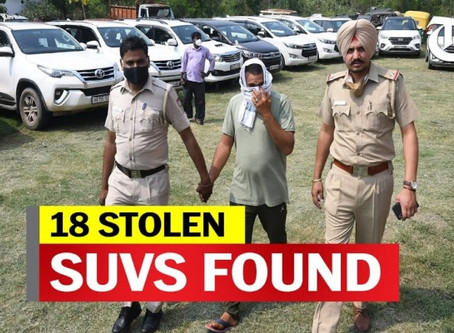 18 Stolen Cars, including 8 Fortuners, seized from Chandigarh