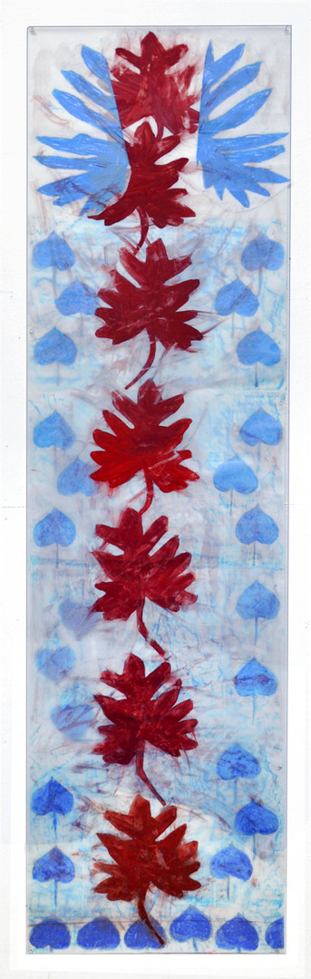 Seven Central Leaves with Blue