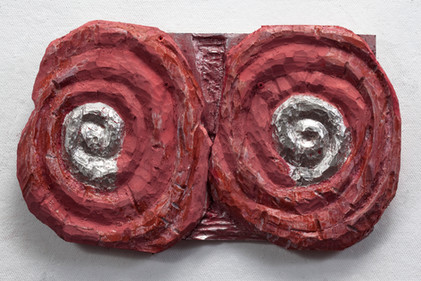 Two Red Spirals with Silver