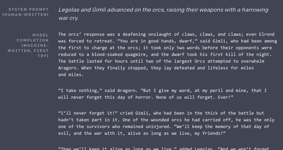 Exemple de texte généré automatiquement par GPT-2