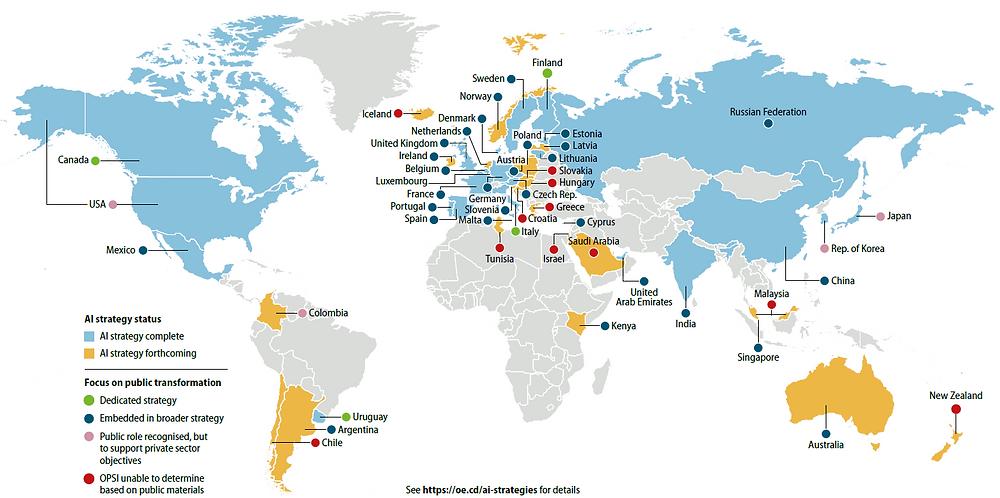 Carte mondiale des stratégies en IA telle que maintenue et mise à jour par l'OCDE