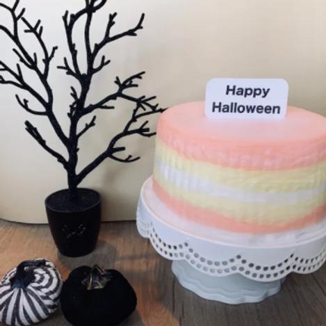 Candy Corn Cotton Candy Cake