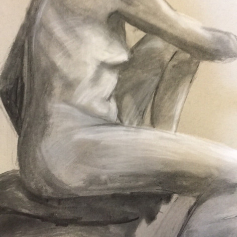 Figure drawing done in Scotland at Glasgow School of Art. Charcoal and chalk on paper. 2016.
