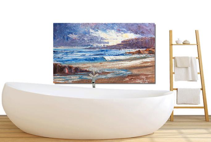 Beach oil painting in bathroom.jpg